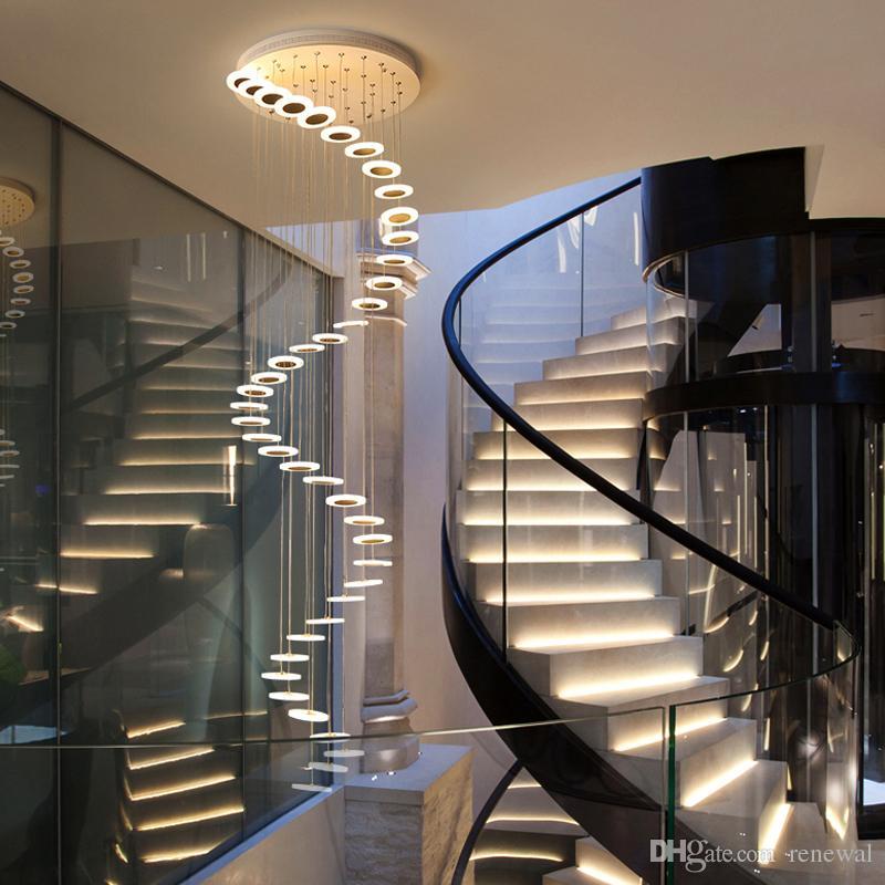 Lustre moderne duplex minimaliste étage étage mode ambiance nordique salon lampe villa escalier en colimaçon longue pendaison
