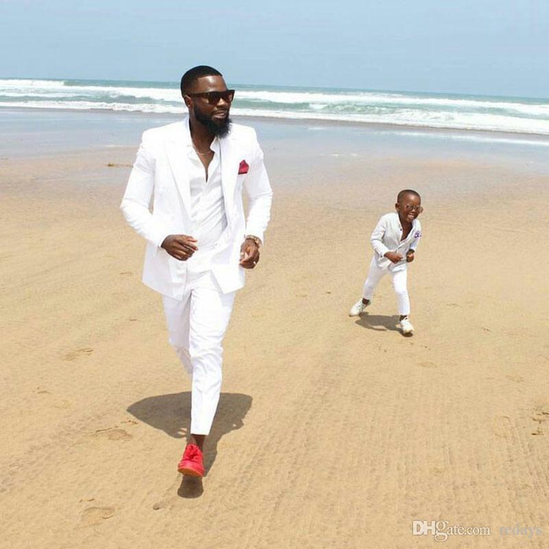 Summer Beach pic large pour les hommes de conception costumes de mariage blanc Groom Tuxedo Père et Fils costumes deux pièces Terno Masculino Epoux Outfit