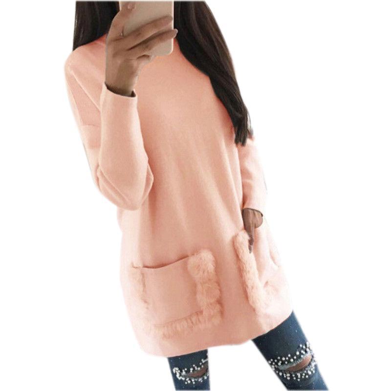 겨울 가을 여성 느슨한 긴 소매 스웨터 미니 드레스 풀오버 느슨한 포켓 파티 드레스 Vestidos Clothiong