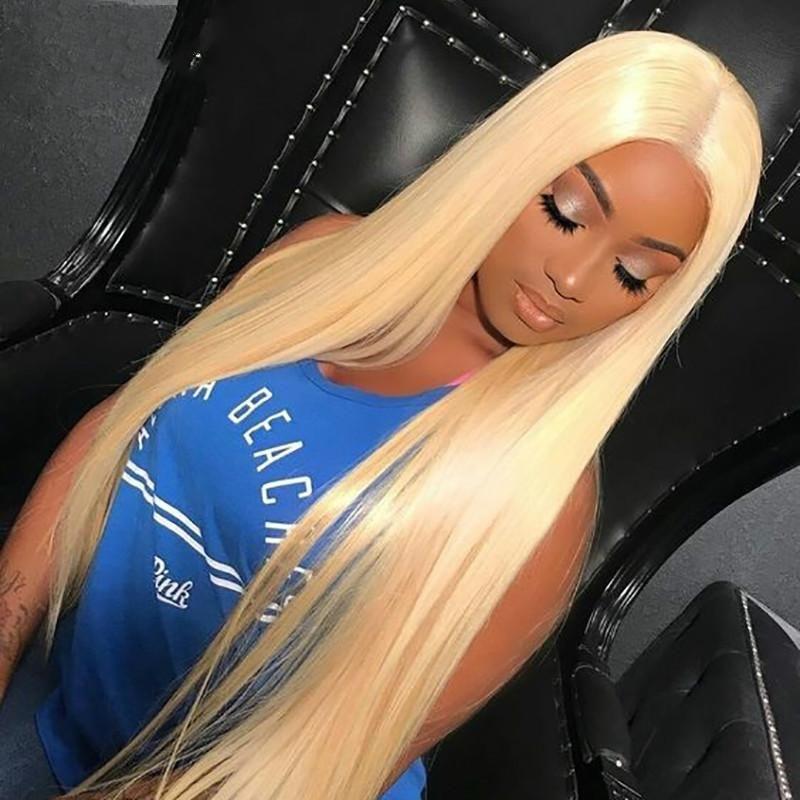 Волосы # 613 блондинки прозрачные кружевные парики 180% плотность прямые бразильские реми человеческих волос шнурок передних парик для женщин