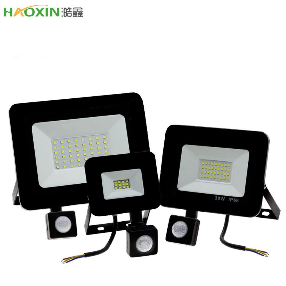 أضواء HaoXin 50W LED ضوء الفيضانات مع استشعار الحركة للماء AC220V 20W PIR الكاشف العارض مصباح في الهواء الطلق لحديقة شارع