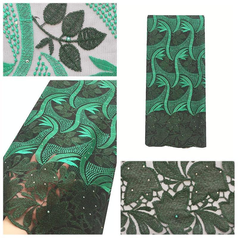 Nueva LLEGADA África Tela de encaje para bodas Tela de encaje bordada verde Última tela de encaje de tul africano de alta calidad 2018