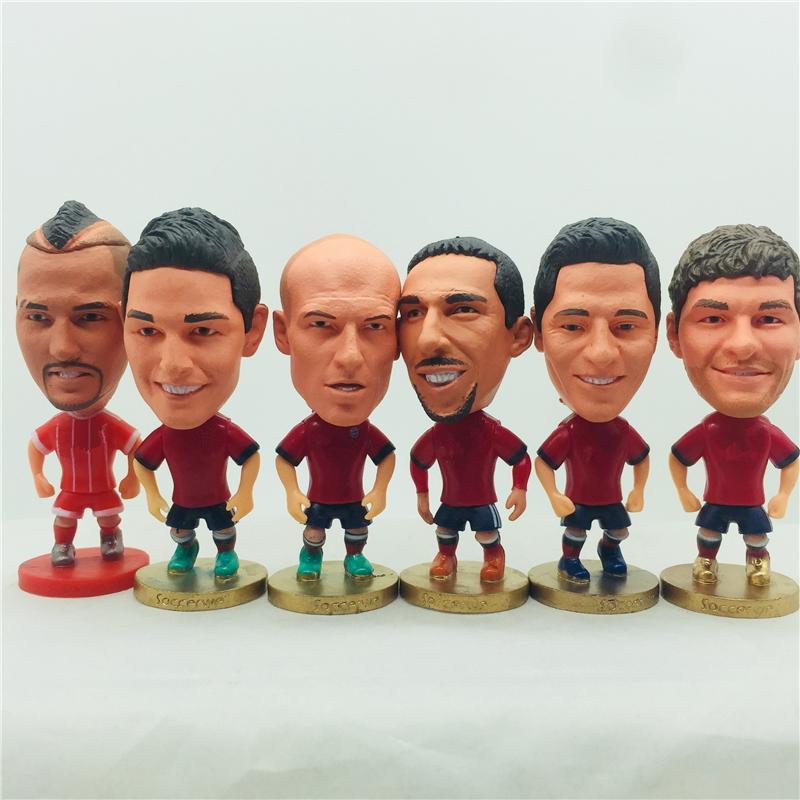 "Soccerwe Soccer Star 2.55"" Presente Toy Lahm Alonso Robben Ribery Muller Lewandowski Neuer Dolls Kit Red Natal de Ano Novo para as crianças"