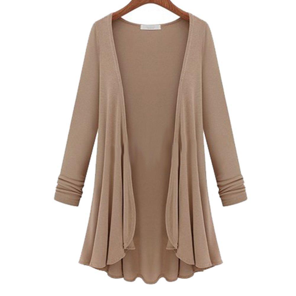 여성 패션면 최고 얇은 블라우스 긴 소매 여름 카디건 스웨터 코트 최고 큰 크기 주름 장식 플러스 사이즈의 M-5XL