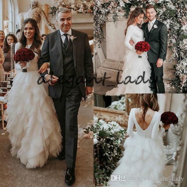 جميلة مشد فساتين زفاف 2019 الأعلى الحرير كم طويل صخب تول البلد أثواب الزفاف مثير منخفضة عارية الذراعين البوهيمي سندريلا بسيطة