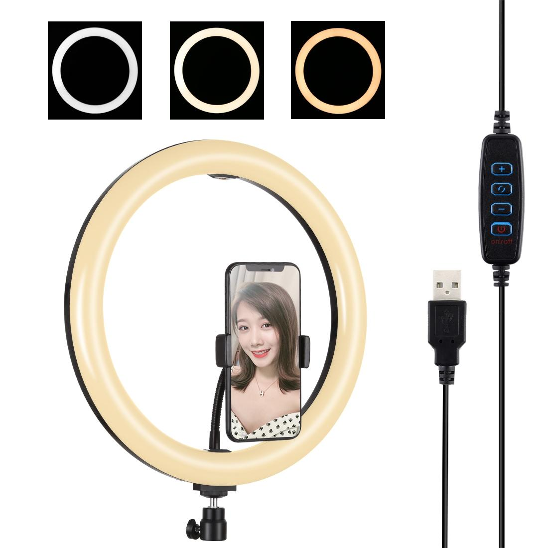 PULUZ Modes Dimmable Dual Color Temperature LED Curved Diffuse Light Ring Vlogging Selfie Photography Video Lights with Phone Clamp