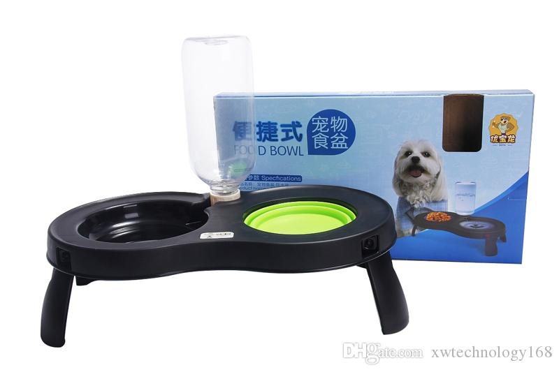 1PCS Portable Pet Food Bowl Kettle Folded Double Bowls Plastic Dog Cat Food Water Feeder Bowl