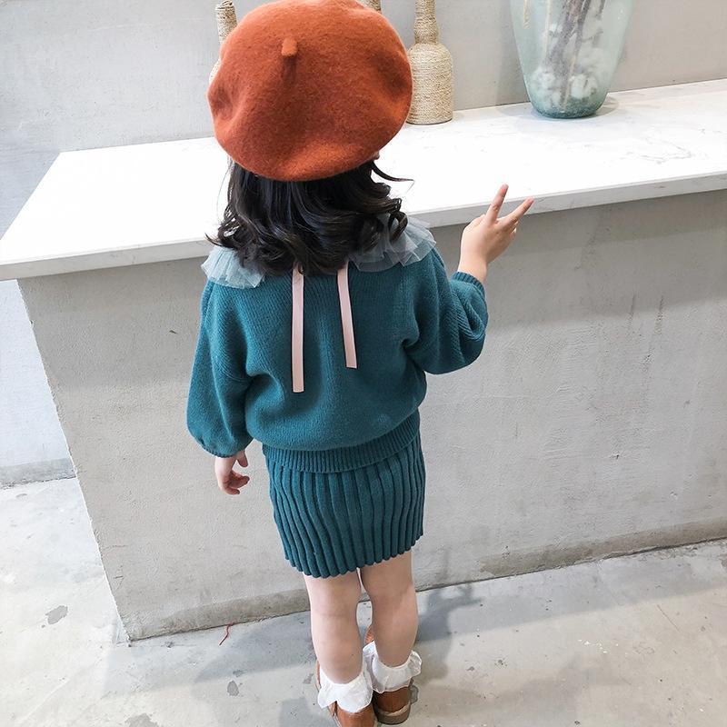 Chicas 2019 visón terciopelo vestido extranjera vestido de traje de dos piezas de las mujeres suéter suéter del otoño de los niños del bebé
