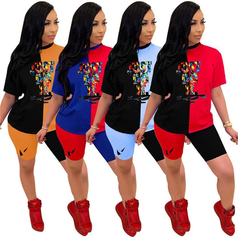 Plus la taille 2XL short T-shirt manches courtes d'été Femmes marque sport deux pièces mis concepteur lettre casual sportswear lambrissé 3066