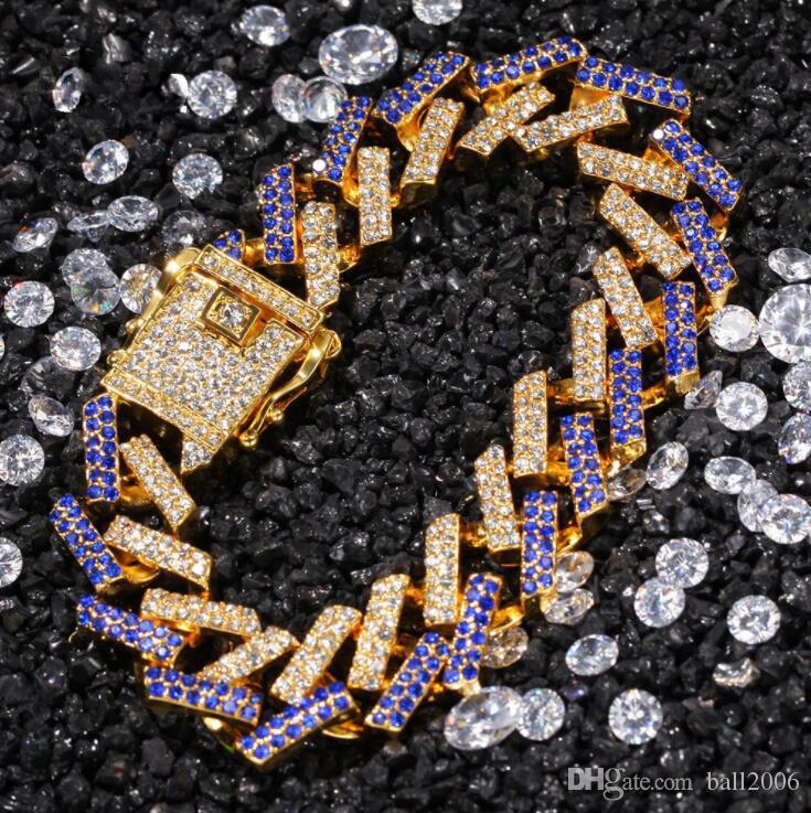 La dernière chaîne de haute qualité de la chaîne cubaine Bracelet de hip hop de haute qualité de la chaîne cubique 15mm micro-incrusté couleur zircon hommes bijoux en gros