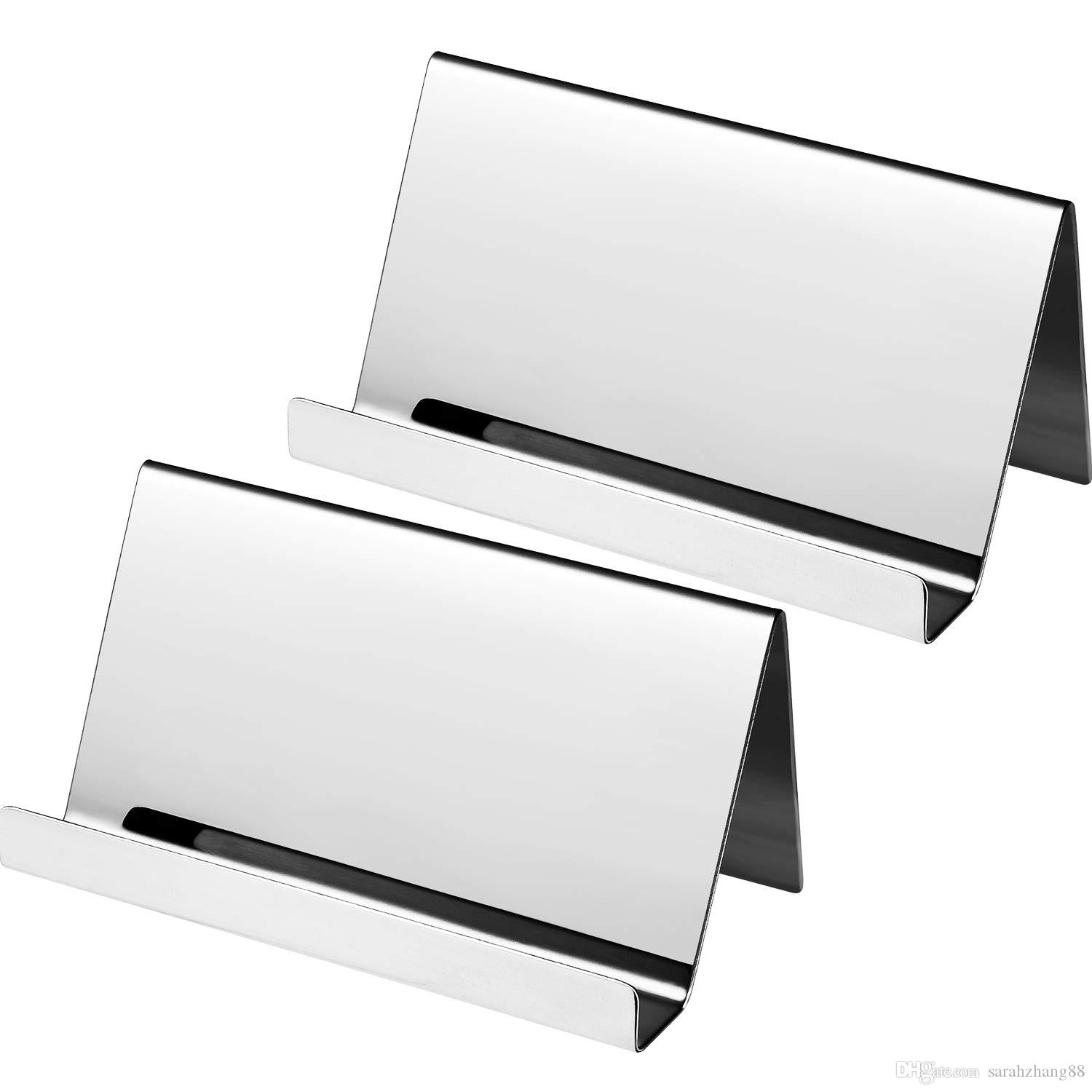 Stainless Steel Business Cards Holders Desktop Card Display Business Card Rack Organizer