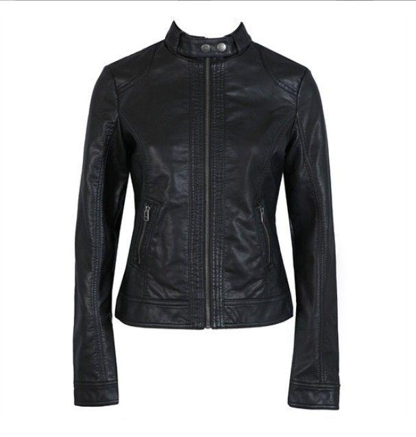 XXXL del 2018 rivestimento di modo europeo Leather Jacket nuove donne di modo di cuoio Pimkie secco PU singolo Moto temale Donne