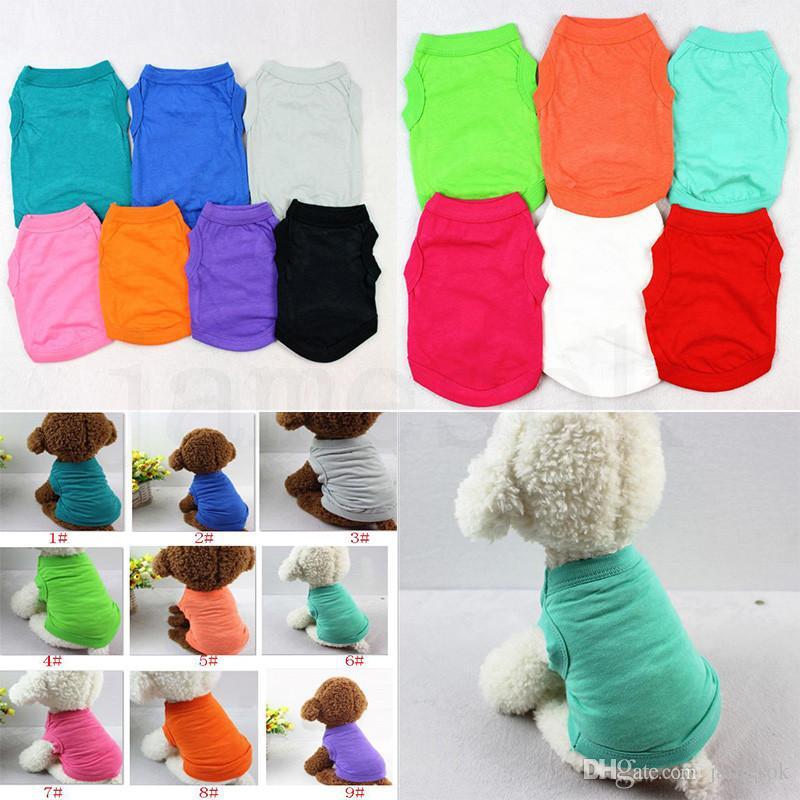الحيوانات الأليفة تي شيرت الصيف الصلبة الكلب الملابس الأعلى أزياء قمصان الصدرية الملابس المصنوعة من القطن جرو كلب صغير الكلب الملابس الرخيصة الحيوانات الأليفة ملابس dc423