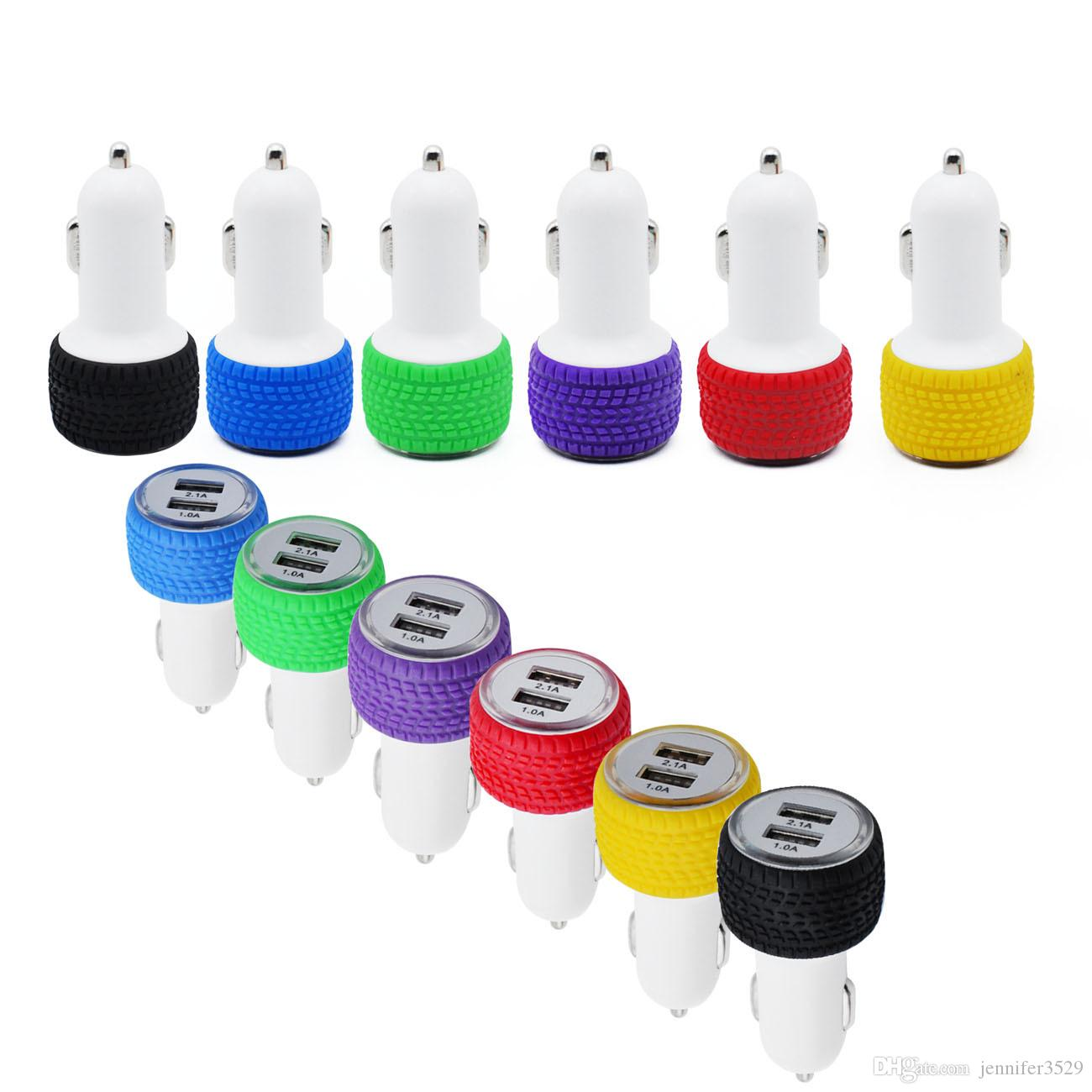 2A silicone car charger 2 USB Ports tyre Car Charger portable cigarette lighter socket charger for iPhone LG Samsung HTC LG