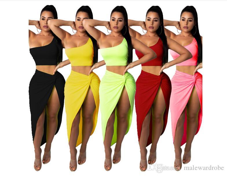 Летние женщины сексуальные 2 комплекта из двух частей платье женской одежды с длинным рукавом прозрачный укороченный топ + миди с высокой талией осень наряд