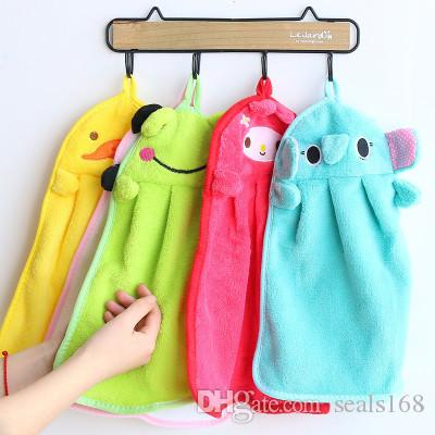 Cartoon Hand Towel For Soft Coral Velvet Home Dish Rag Cloth Kitchen Hanging Cleaning Tools HH9-2104