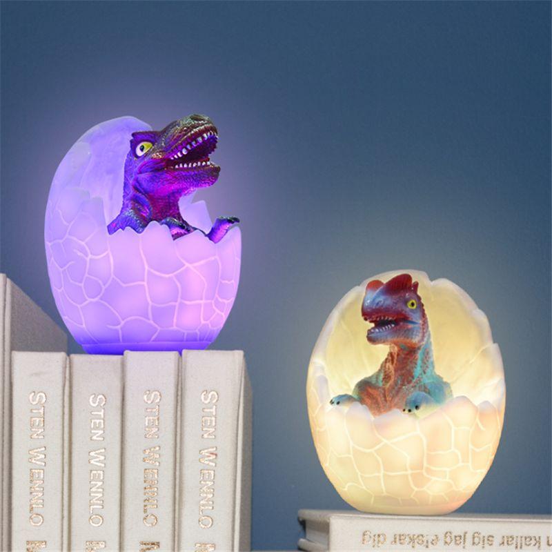 LED 3D lampe Dinosaur Egg Night Light Pat Lamparas Accueil Décoration pour Noël Noël Multicolor Enfants Cadeau Table Bureau d'éclairage tactile