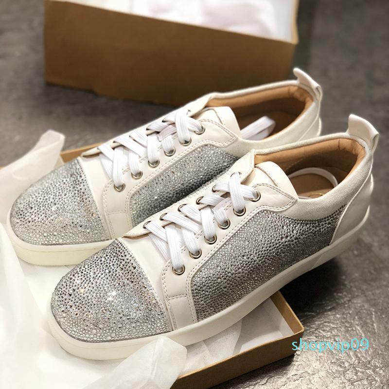 Chaussures Designer clouté Spikes hommes formateurs de luxe Sneaker Appartements Hommes et Femmes Lovers Red Shoes Bottom 100% cuir véritable SZ 36-46 C29
