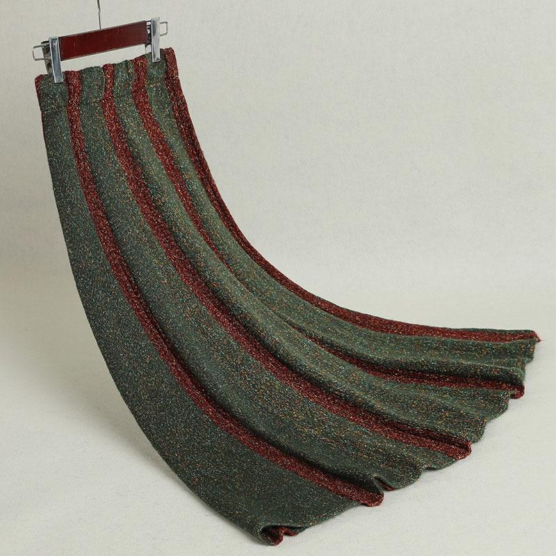 das Mulheres Striped saia plissada Outono Inverno Grosso Irregular Tamanho Grande Knit saias longas Mulher LS143 Faldas Feminino de alta qualidade