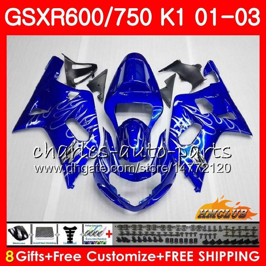 8Gifts Body For SUZUKI GSX-R750 GSXR 600 750 GSXR600 Silver flames 01 02 03 4HC.11 GSXR-600 K1 GSX R750 GSXR750 2001 2002 2003 Fairing kit