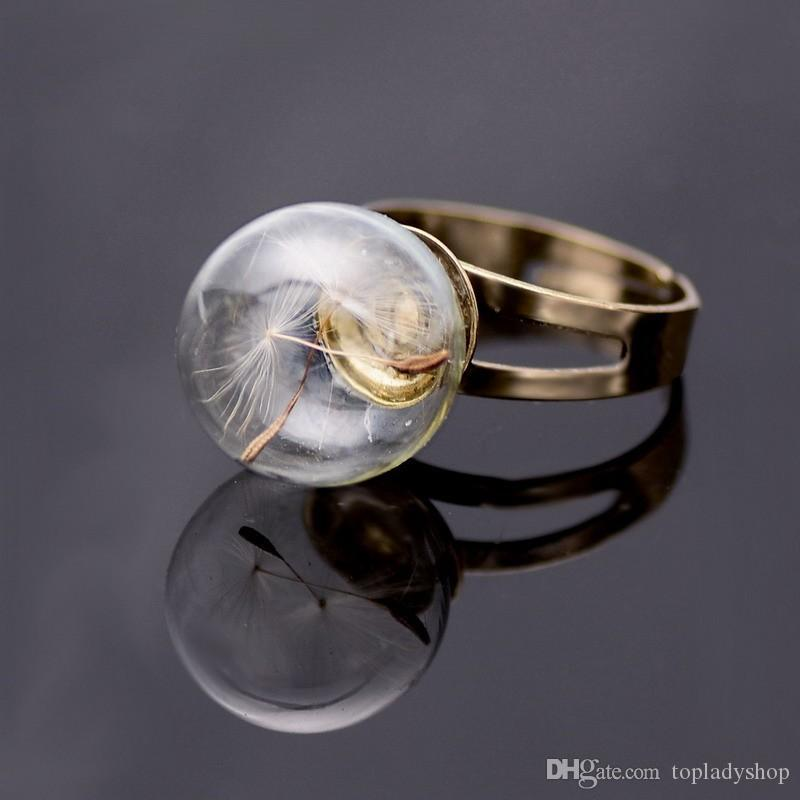 Anillo de bola de cristal de diente de león creativo retro anillo de diente de león al por mayor envío libre