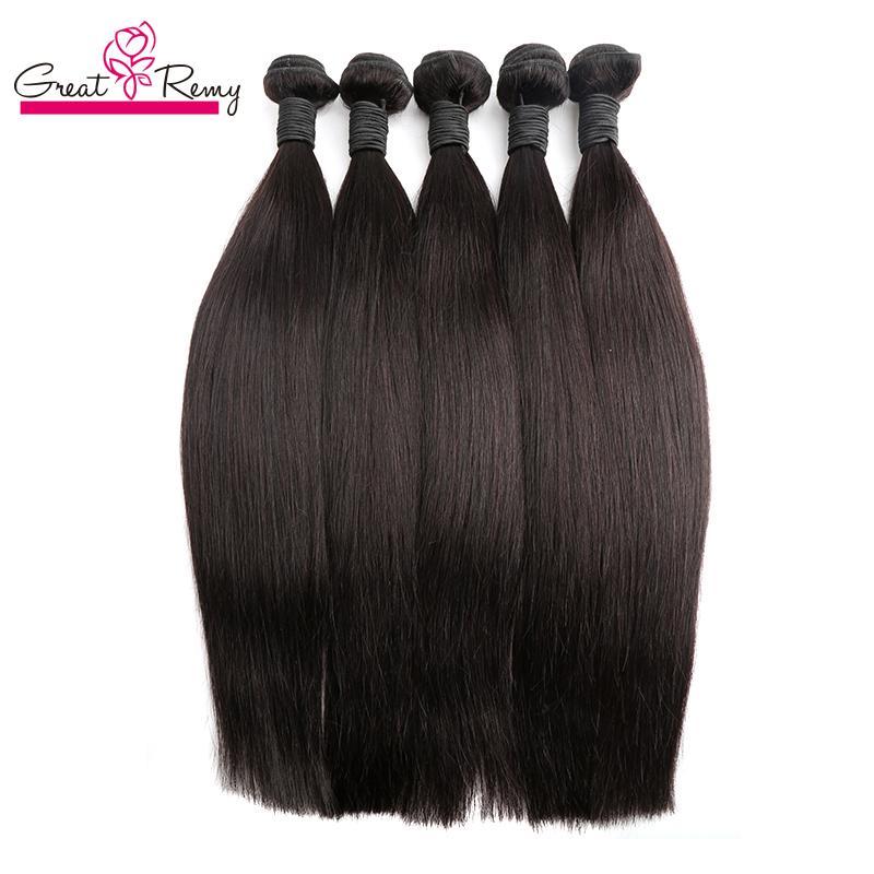 Greatremy® Peruvian obearbetade mänskliga hårbuntar Silky rak Virgin Hårväft Förlängning Human Weave Double Weft Natural Färg 4PCS / Lot