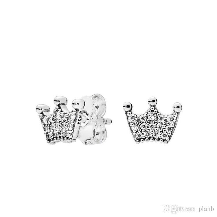 NUOVI orecchini della vite prigioniera del diamante della CZ di modo per 925 dell'argento dell'orecchino magico dell'argento della corona di Pandora Insieme originale del contenitore di regalo per le ragazze delle donne