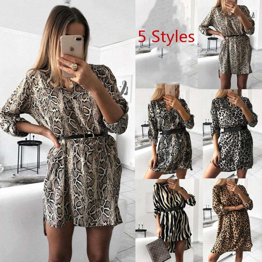 Ladies Dresses Women Clothes Women Autumn Sexy Leopard Snake Print Striped Long Sleeve V Neck Dress Ladies Casual Mini Dresses Above