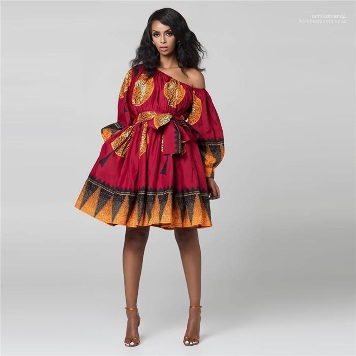 Fashion Print Shoulder Elasticated Adjustment Fluffy Casual Short Skirt Womens Designer Summer Sexy Oblique Dress