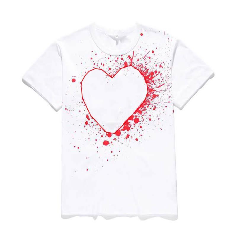 남성 디자이너 T 셔츠 패션 여름 새로운 브랜드 티셔츠 럭셔리 t- 셔츠 짧은 소매 자수 심장 재미 톱 티셔츠 인쇄하기