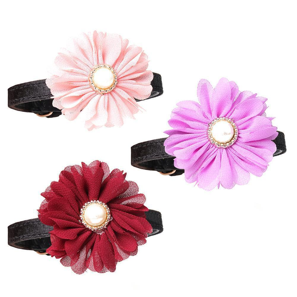 Cute Dog Necklace Flower Style Pet Collar Cat Collar Chiffon Fabric Dog PU Suede Pet Accessories Products