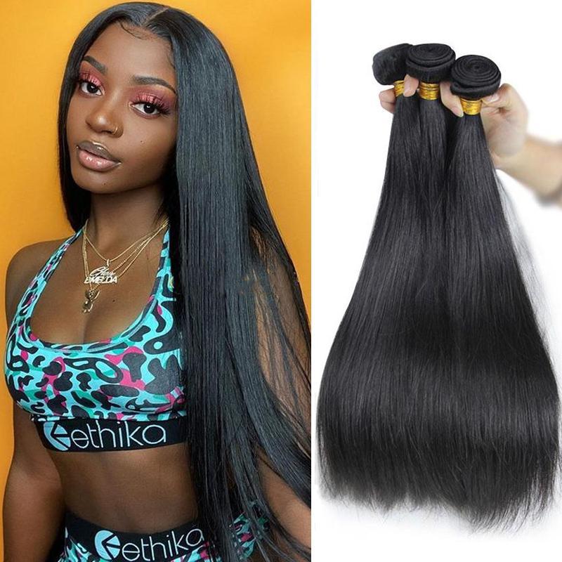 3pcs / lot onda brasiliana corpo Straight capelli non trattati estensioni dei capelli umani brasiliani dei capelli di Remy Bundles malese vergine peruviana