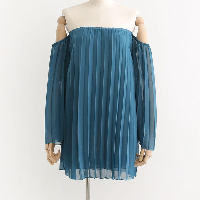 ZXQJ Fashion Blue Sexy Slash Collar Chiffon Blouse Streetwear Women-s Stylish Pleated Tops Casual Chemise Femme