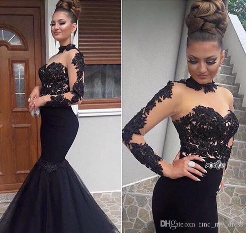 Vintage noir col montant sirène Robes de bal Tulle Applique Sexy Black Girls Pageant Robes à manches longues en dentelle Robes de soirée Party