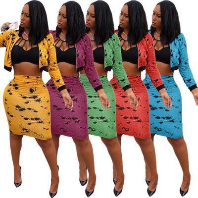 Dos de las mujeres ocasionales piezas Conjunto diseñador de las mujeres trajes de dos piezas vestido de señora Brand 2020 Falda medio nuevo de la manera Traje de impresión Set Top + vestido