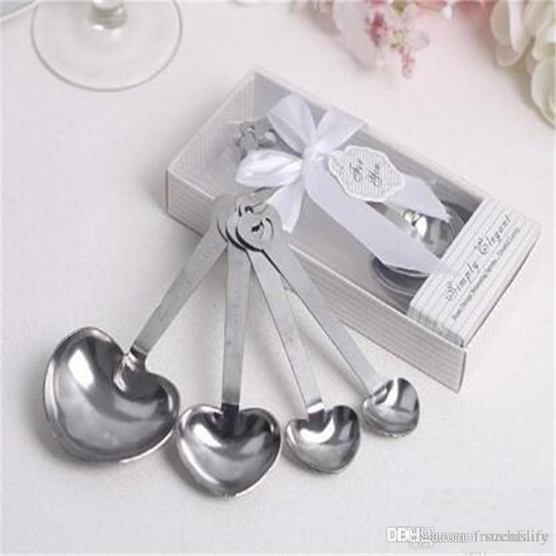 Livraison gratuite 20set / lot amour Beyond Measure en forme de coeur cuillères à mesurer faveurs de mariage cadeaux Outils de mesure
