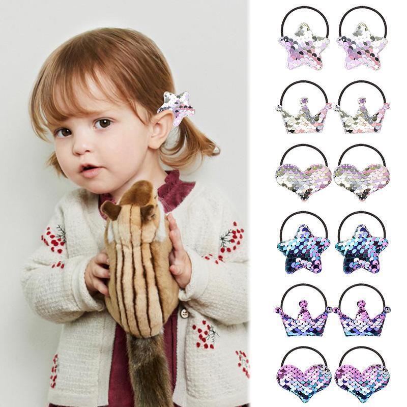 91.209 lantejoulas Hairbands for Girls Kids Boutique Acessórios de cabelo coreano moda Litle Meninas Coroa do coração Estrela Hairbands