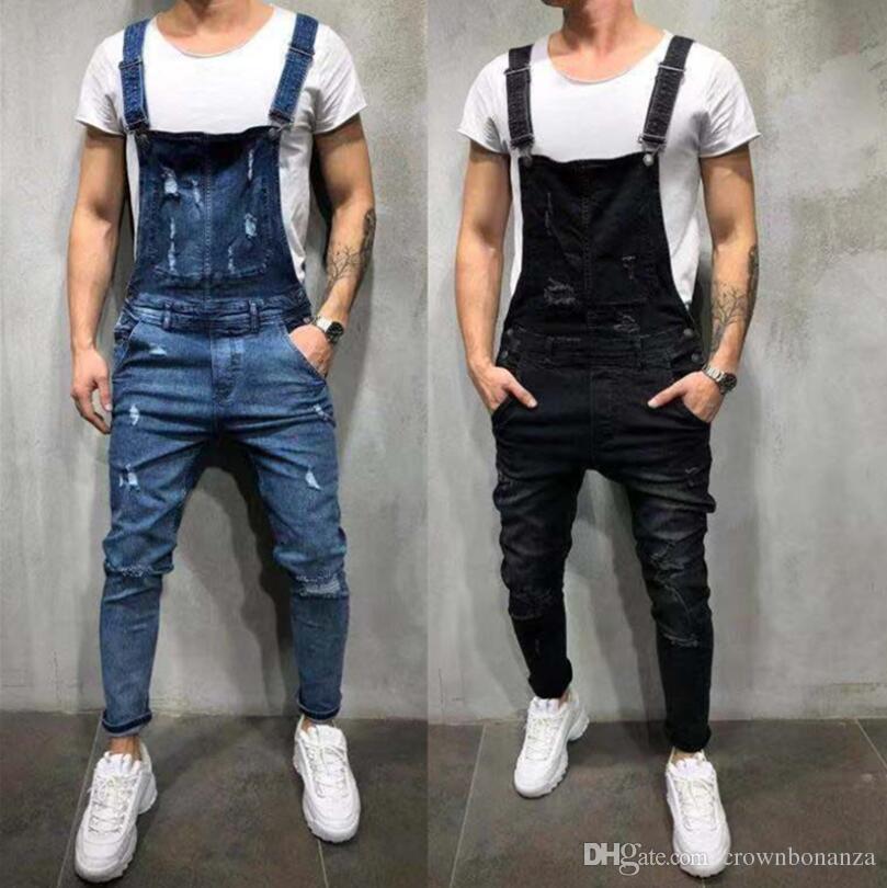 Fashion Mens Ripped Jeans Jumpsuits Hole Denim Bib Overalls For Man Designer Bike Jean Free Shipping