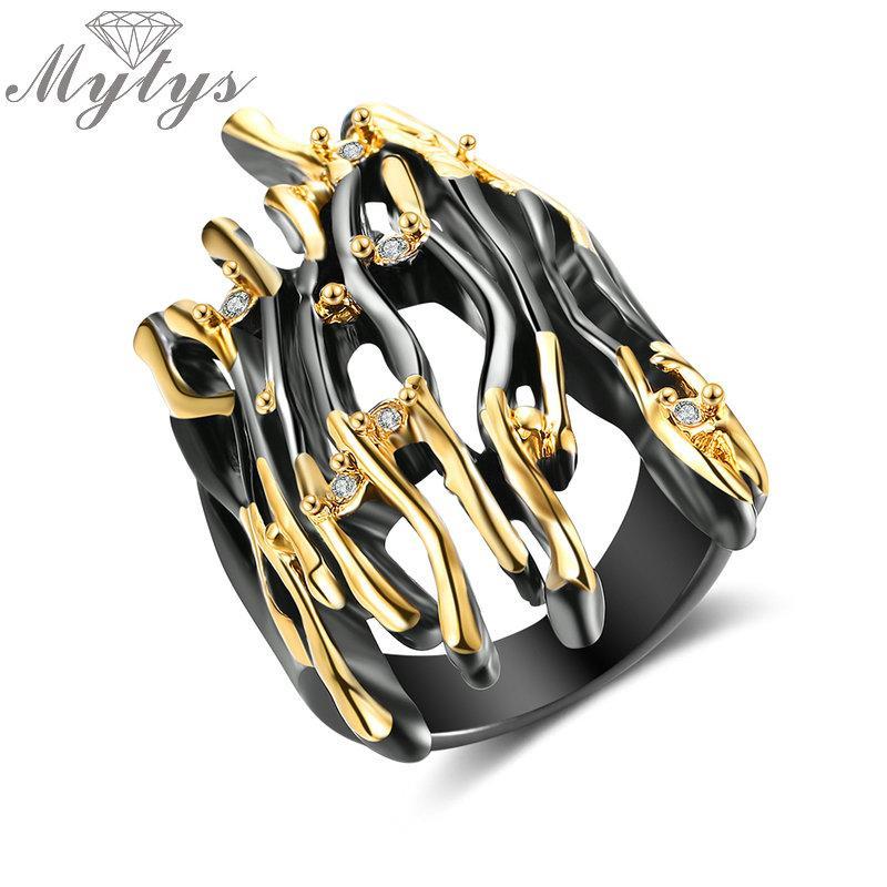 Mytys geométrico diseño de la rama medio dedo Anillo Negro pistola de oro amarillo del color del doble anillo punky llama hipérbole grandes joyas R2008