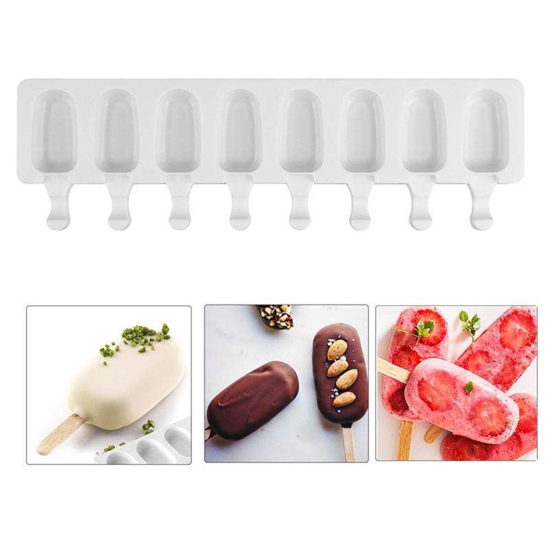 8 Hole Silicone Ice Cream Mold Makers Cake decorating Baking Tools DIY Ice Cube Moulds Dessert Tray Popsicle Molds