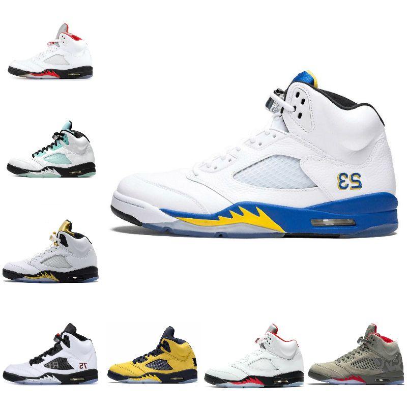 2020 Nike Air Jordan 5 retro jordans Red Michigan Mens scarpe da basket Retroes Black Grape Willy, il principe nero mussola raso Bred Sneakers Trainers