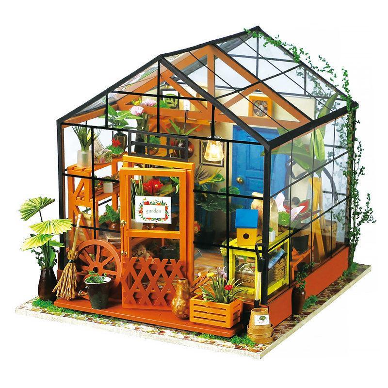 Robotime 15 أنواع DIY البيت مع مصغرة أثاث الأطفال الكبار خشبي بيت الدمية بناء نموذج مجموعات دمية لعبة هدية T200116