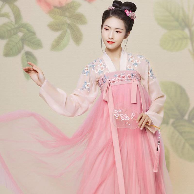 핑크 중국 전통 Hanfu 의상 여성 요정 댄스 옷을 여자 레이디 당나라 복장 중국 고대 옷 DWY1920