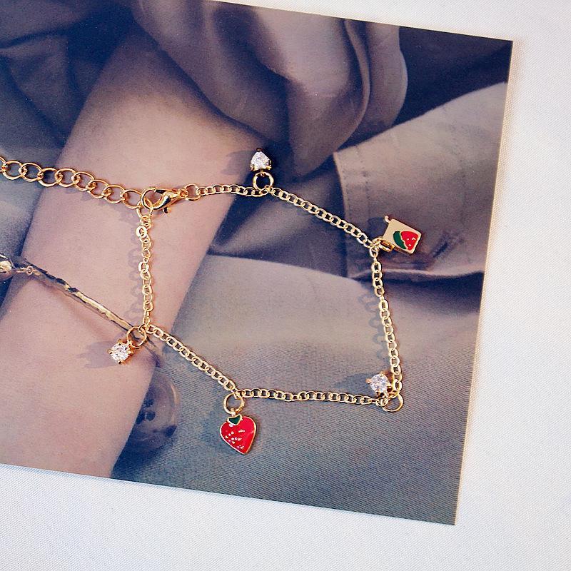 2020 الموضة الجديدة الفراولة الحلو قلب سوار لطيف للمرأة العصرية الكورية سوار سحر المجوهرات العليا