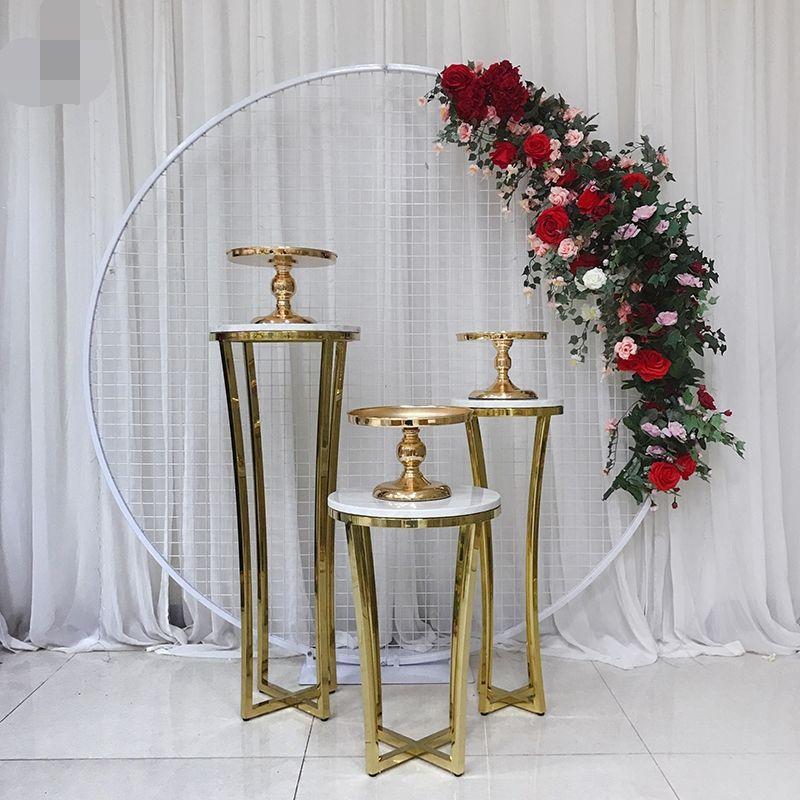 الفولاذ المقاوم للصدأ الزفاف الكبرى حدث الخلفيات القوس الطريق الرصاص زهرة كرسي حامل الذهب كعكة حامل طاولة كعكة الجدول الحلي طاولة