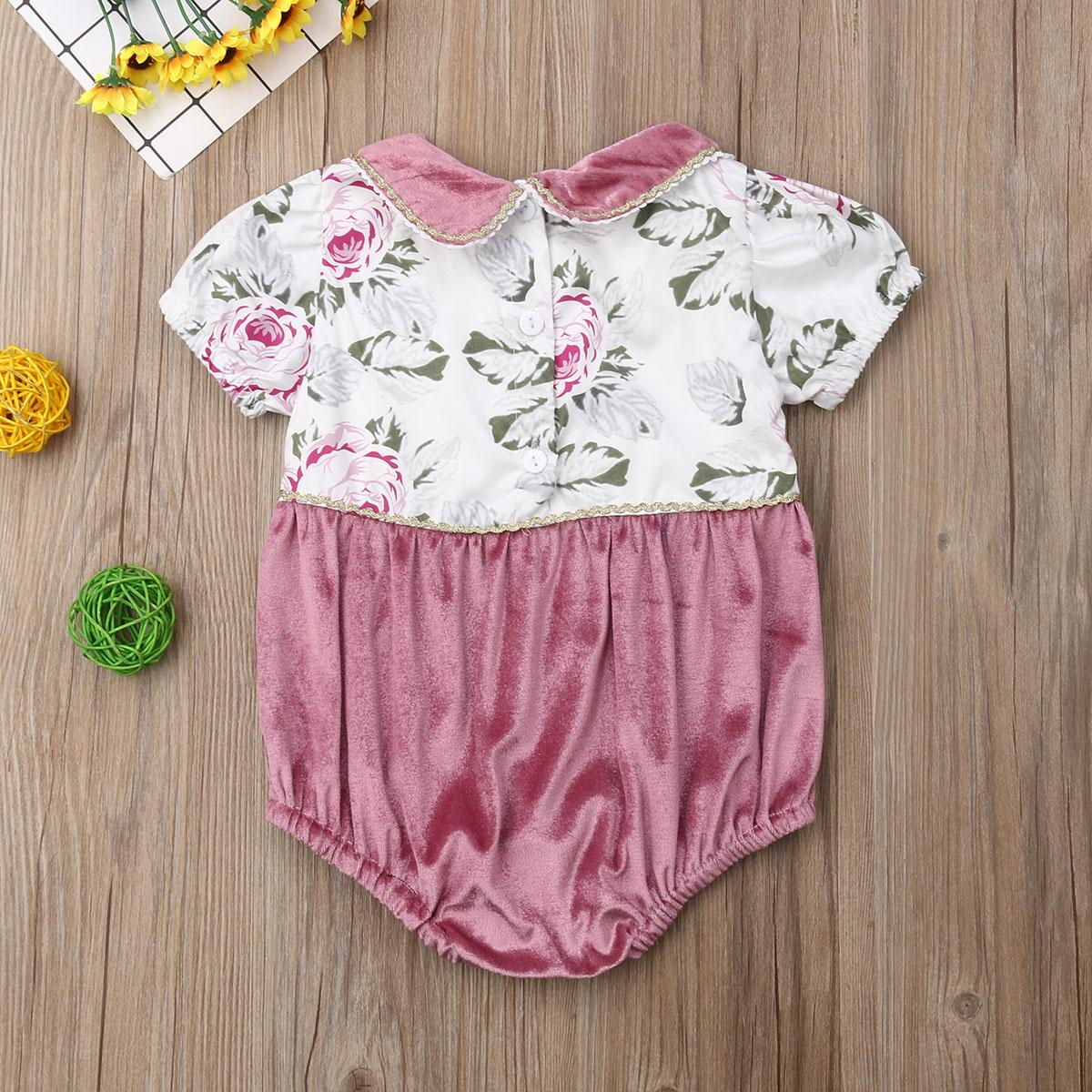 0-24M New Summer Cute Infant Baby Kids Girls Floral Jumpsuit Peter Pan Collar Short Sleeve Floral Bodysuit Cotton Outfit Set