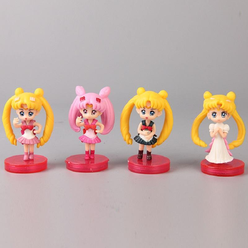 4pcs/lot Anime Sailor Moon Collection Doll With Different Dress Action Figure Toy Cute Girl Sailor Moon Display Model Doll Gift