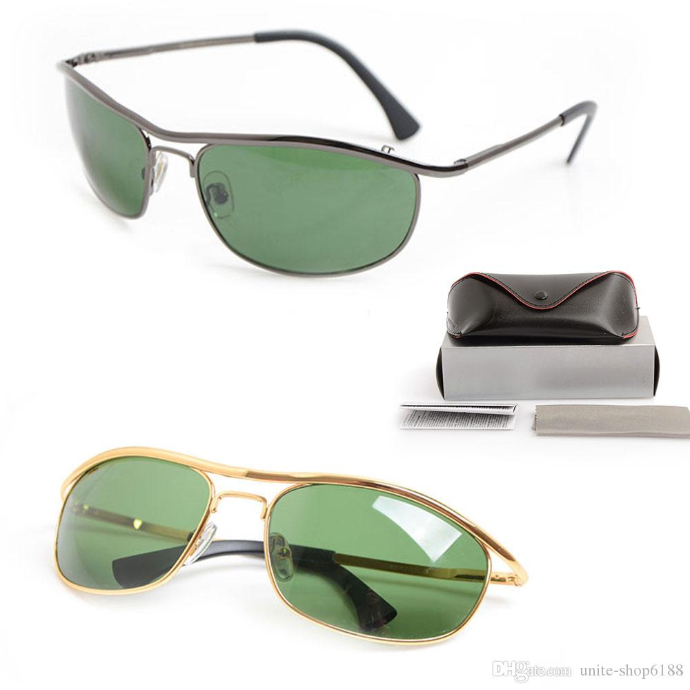 10PCS Brand New Designer Sun glasses 8012 Mens Sunglasses Brand womens glasses Green Glass Lens sunglasses Classic Brand glasses With Boxs