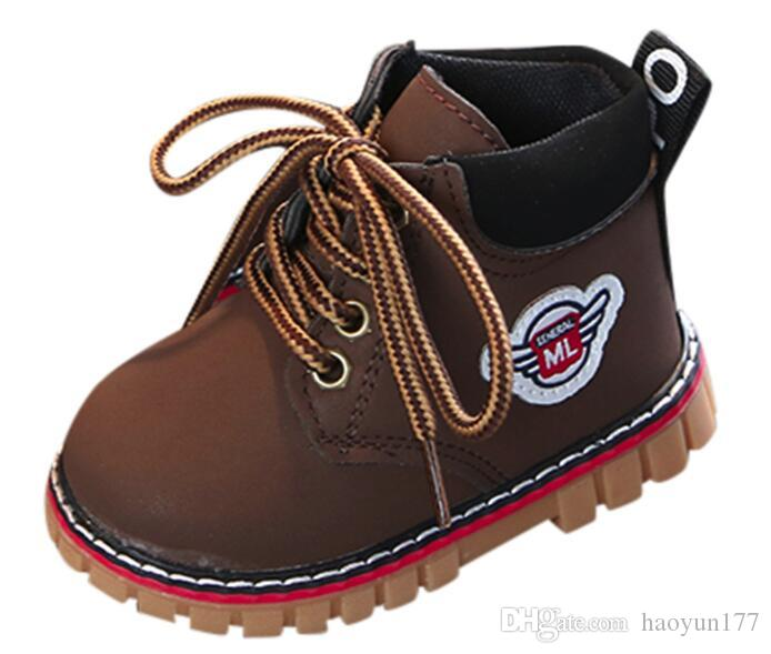 Fashion Children Boys Girls Casual Leather Martin Sneaker Boots Kids Baby Shoes