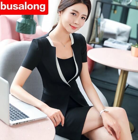 Costumes de cérémonie pour les femmes Interview Office OL Uniform Designs Blazer à manches courtes + jupe Costumes Work Wear 2 pièces ensembles plus la taille